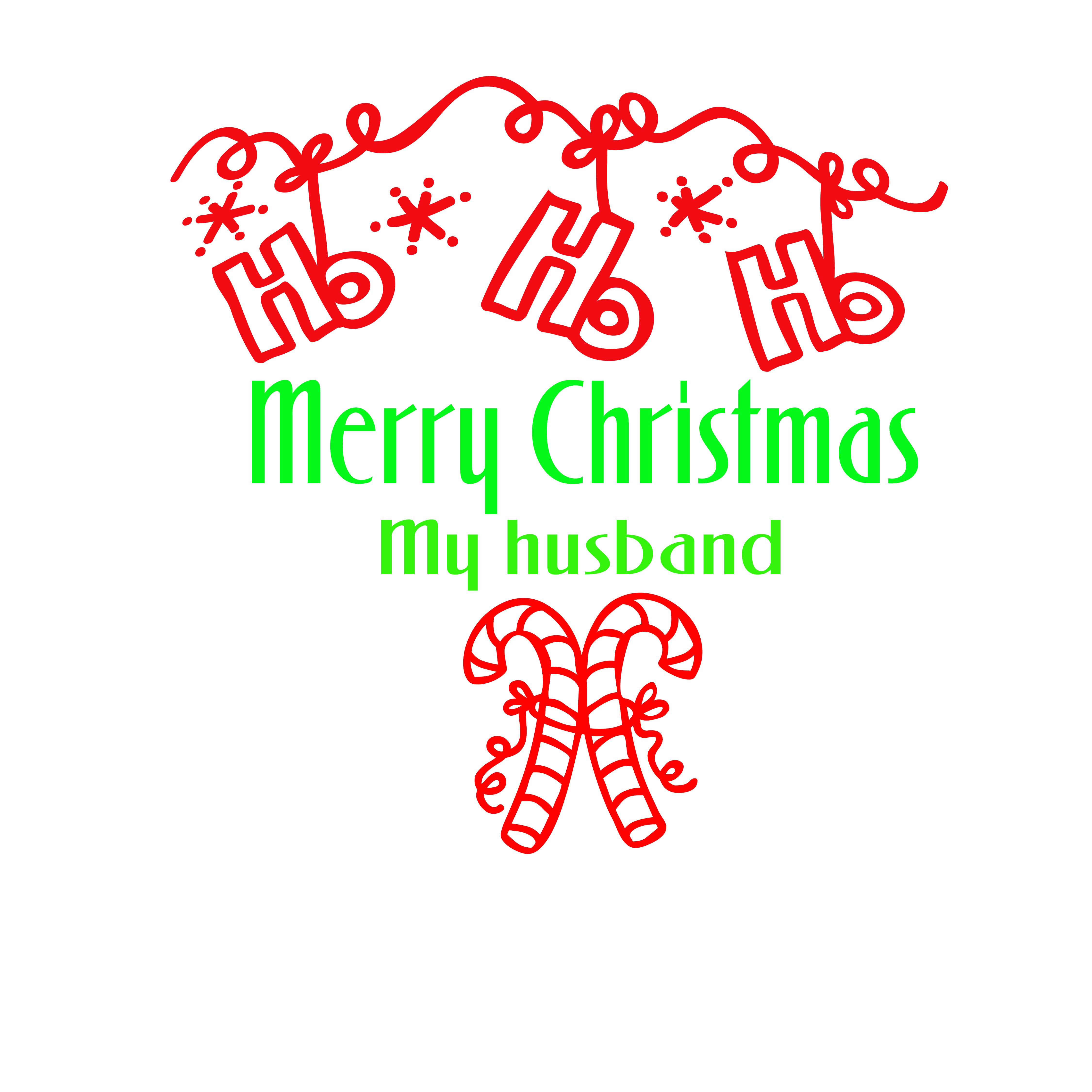 Merry Christmas my husband holiday t-shirt cotton men\'s tee white ...