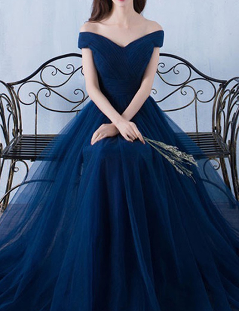 43b5907a2053 P175 A Line Off Shoulder Floor Length Dark Blue Prom Dress with Pleats