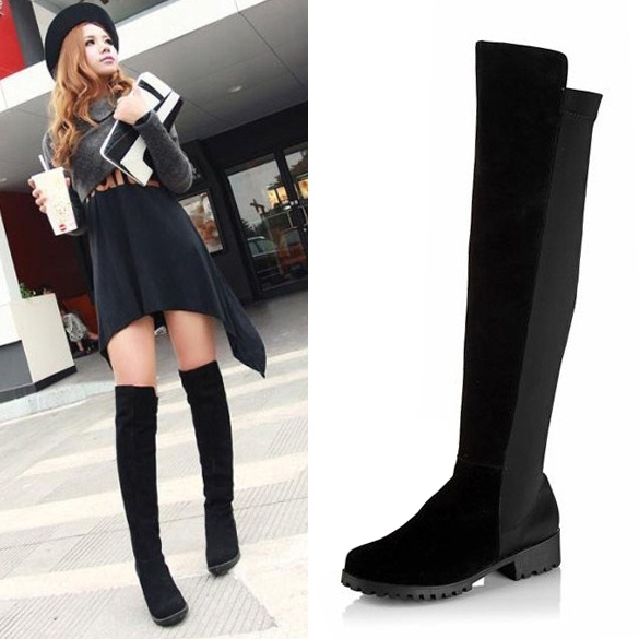 12d4c0975c Black Fashion Women's Shoes Over the knee Faux Suede High Flat Boots ...