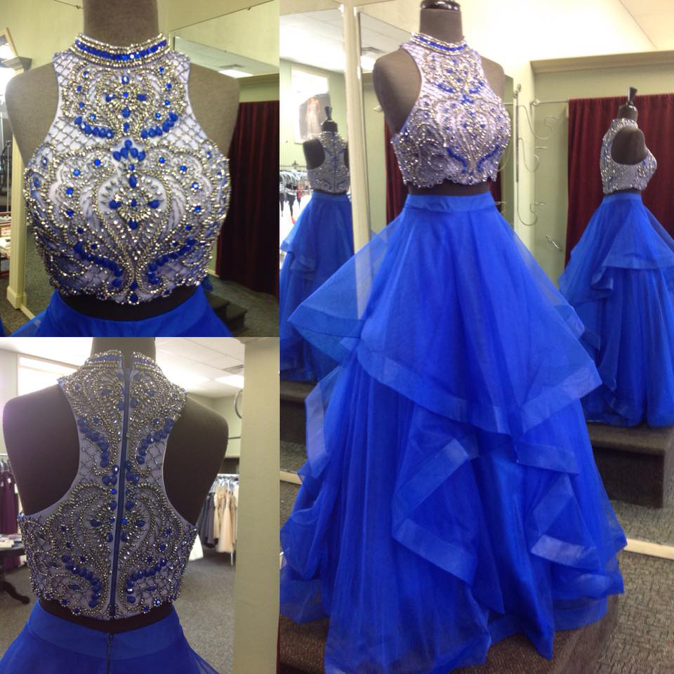 Two Piece Prom Dresses,Beaded Bodice Royal Blue Skirt 2017 Prom ...