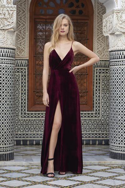 Spaghetti Straps Front Slit Prom Dress Burgundy Velvet