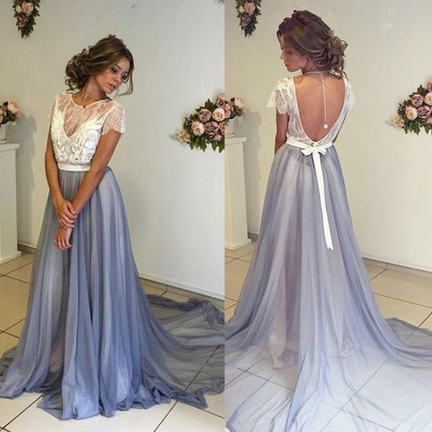 3f3a7b400d White lace chiffon long prom dress, formal dress · Dreamy Dress · Online  Store Powered by Storenvy