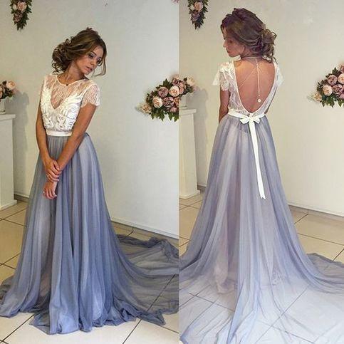 a1d7cf7b239 White lace chiffon long prom dress