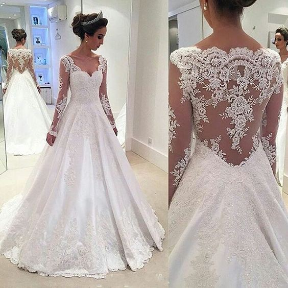A Line Long Sleeves Lace Wedding Dresssexy Illusion Back Lace Bridal Dress