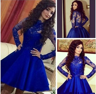 A309 Lace Long Sleeve Homecoming Dresses Royal Blue Short Prom