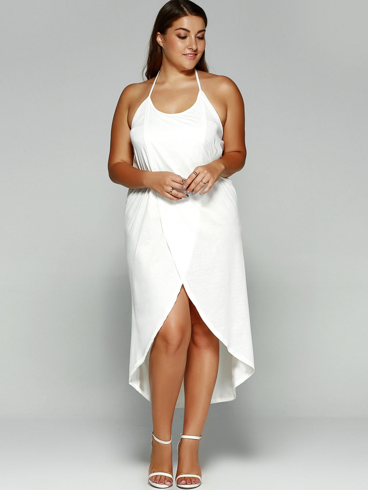 Sweet Summer White Halter High Slit Plus Size Dress FREE DELIVERY sold by  Hot Fashion In The USA