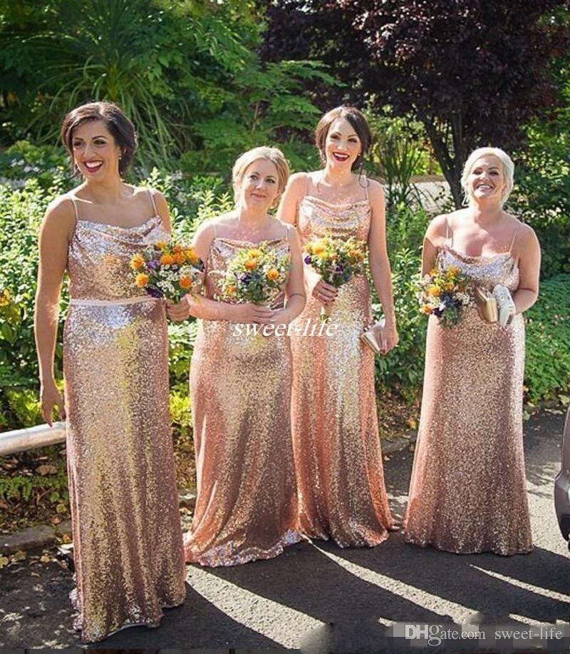 Rose 20gold 20sequins 20bridesmaid 20dresses 202017 20new 20cheap 20bling  20for 20weddings 20spaghetti 20straps 20sheath 20long 20plus 7c6540a31