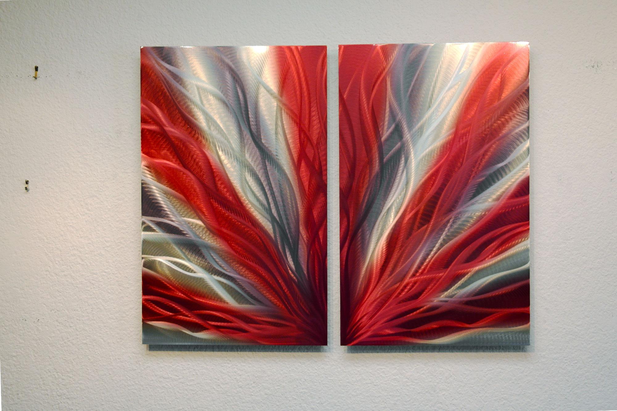 Red Metal Wall Decor: Metal Wall Art Abstract Sculpture Modern