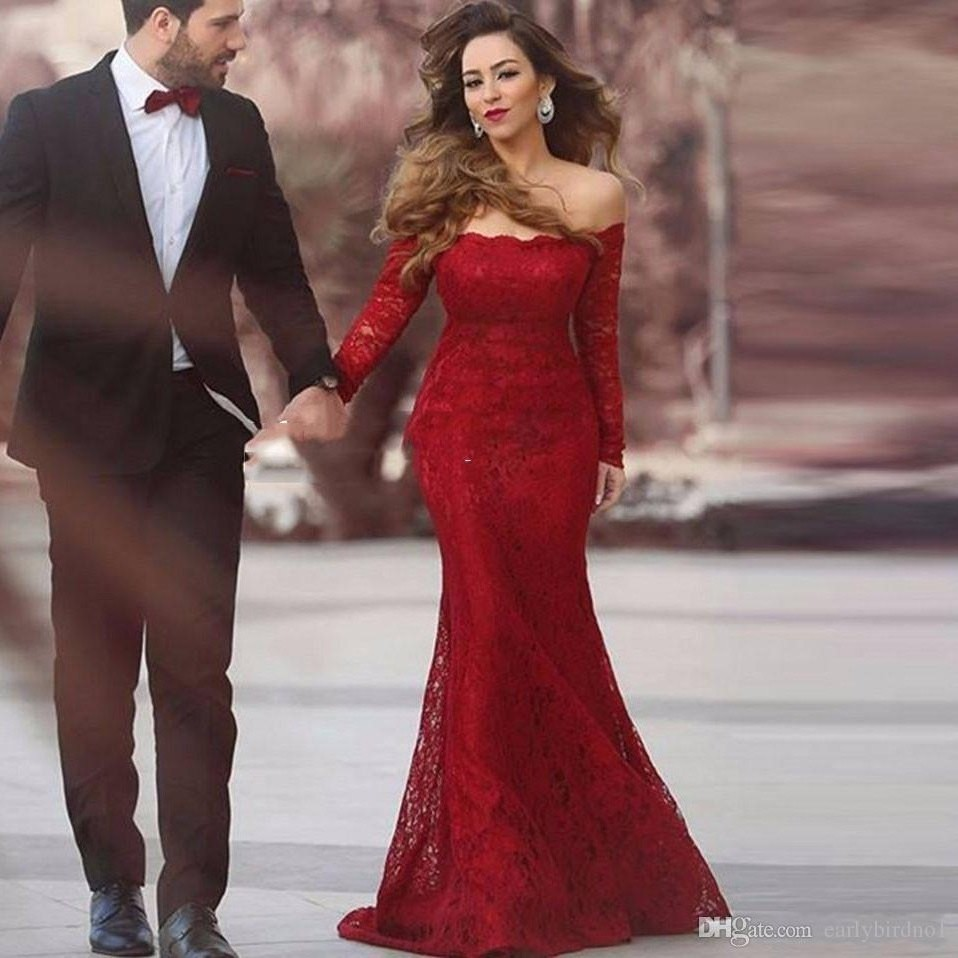 Red Lace Mermaid Prom Dress, Off The Shoulder Pageant Gown Long ...