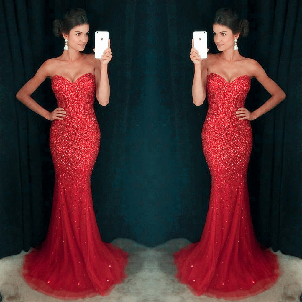 prom dress mermaid red