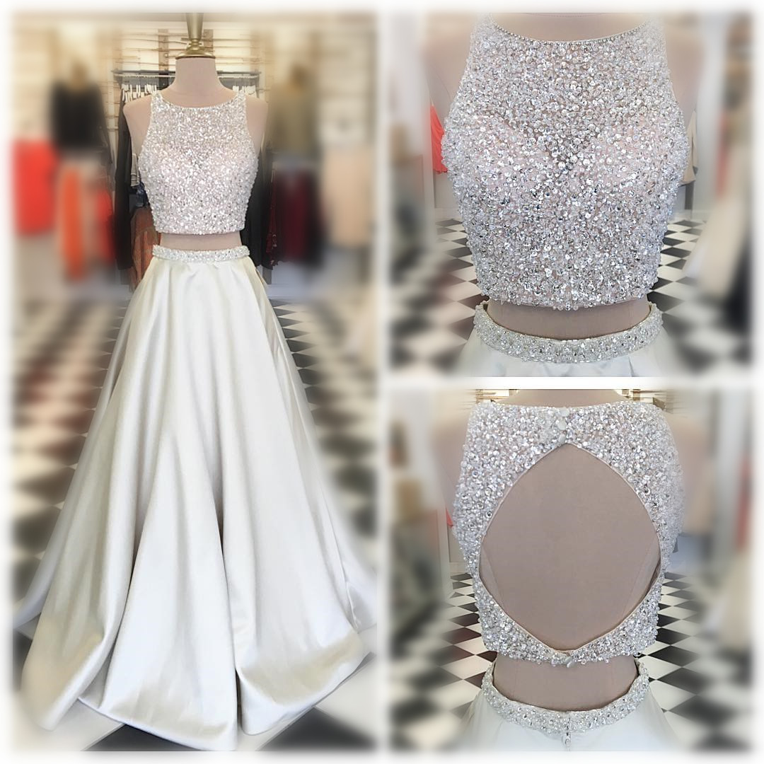 Two Piece Long Prom Dress,Beads Long Prom Dress,Sparkly Prom Dress ...