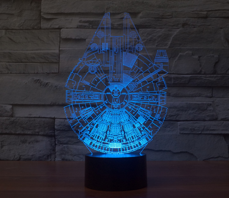 Free Shipping Star Wars Millennium Falcon LED 3D Stereoscopic Visual Light  Acrylic Lamp Fashion Modeling Nightlight Home Decor from fashionland