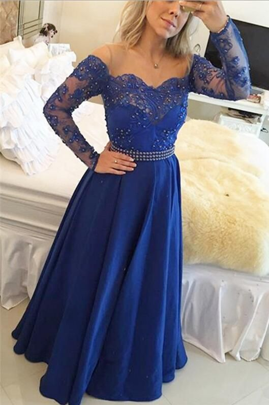 Full Sleeve Long Prom Dresses for Teenagers