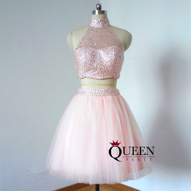 Designer Pink Tulle Two-Piece Halter Illusion Beaded Ball Gown Short ...