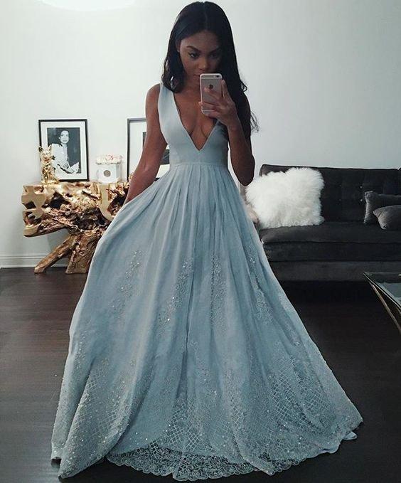 Vintage Medieval Wedding Gowns A Line Deep V Neck Long: Deep V Neck Light Blue A-line Long Vintage Evening Dress