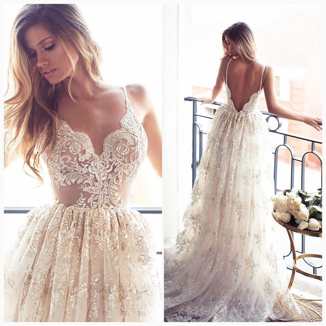 2017 Full Lace Open Back Wedding Dresses Sexy Spaghetti