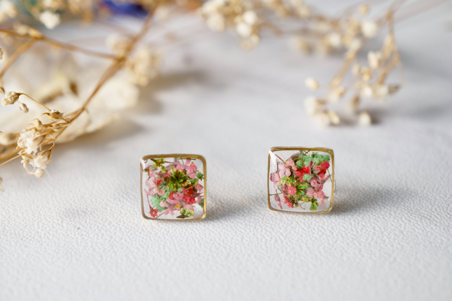 dfa91dea3 Real Dried Flowers and Resin Stud Earrings in Pink Green Mix · Ann + ...