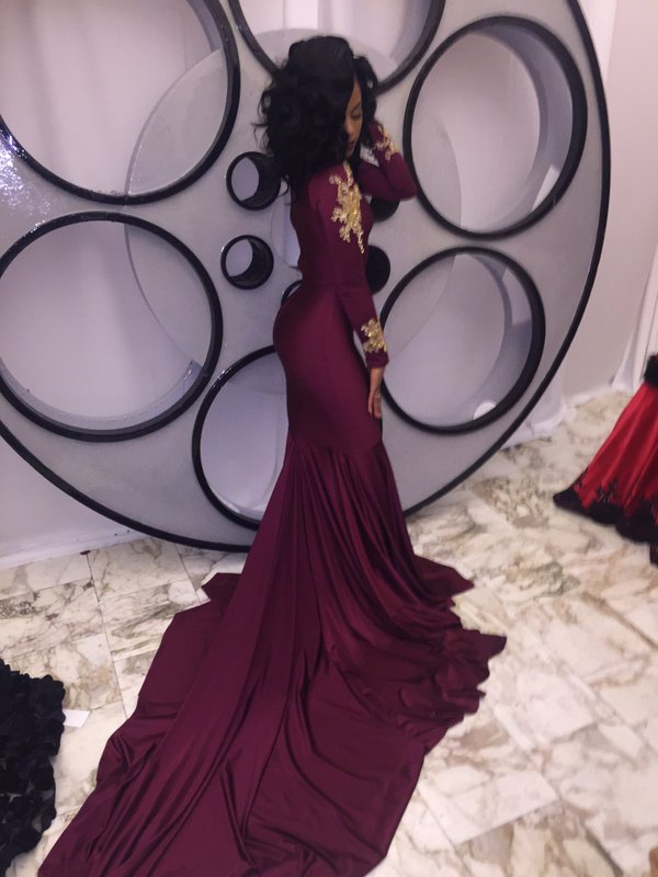 Maroon Gold Mermaid Prom Dresses Long Sleeves High Neck Chic Evening