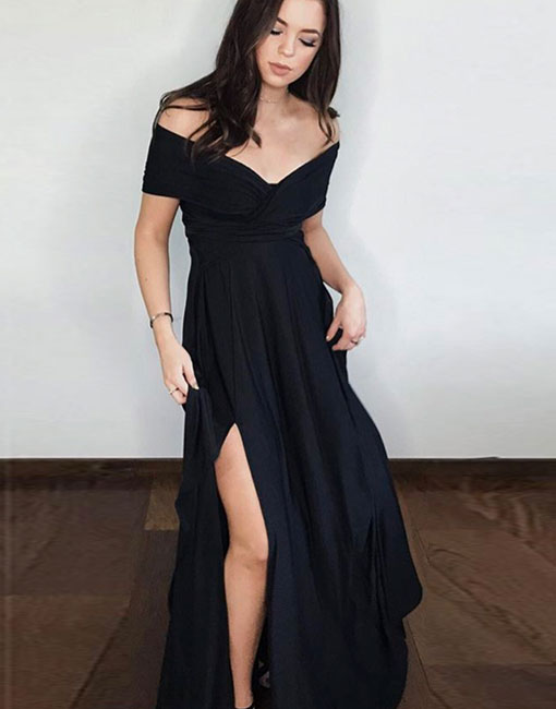 Sexy A Line Black Off Shoulder Long Prom Dress Black Evening Dresses From Formal Dress
