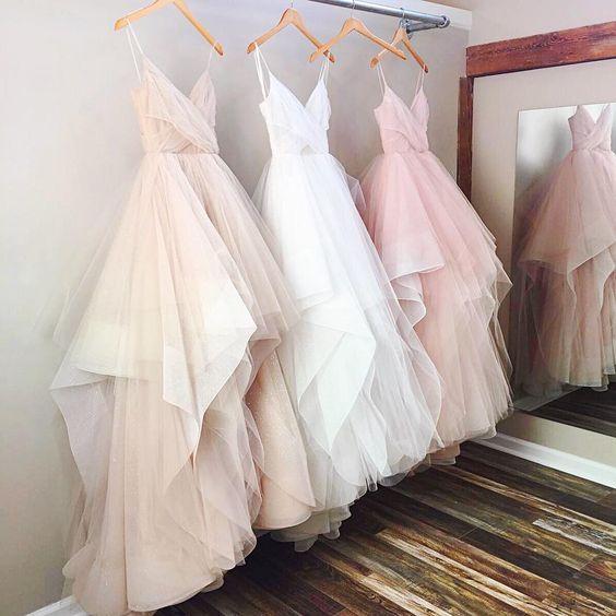 Gorgeous A Line V Neck Spaghetti Straps Long Wedding Dress Modsele