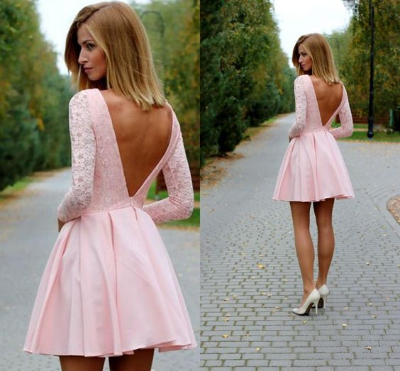 35086cf04a Sexy Low Back Long Sleeves Short Pink Homecoming Dress Prom Dresses Bateau  Lace Party Dresses for ...