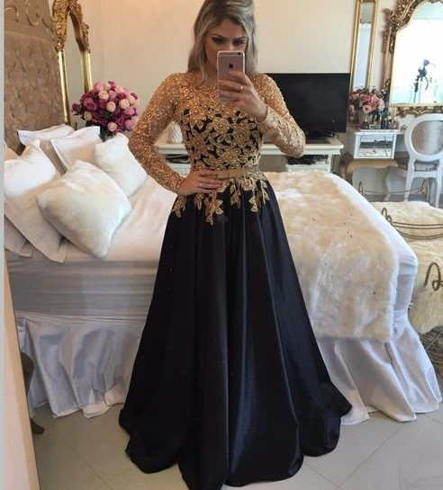 Gold Lace And Black Long Sleeve Long Prom Dressblack Evening Dress