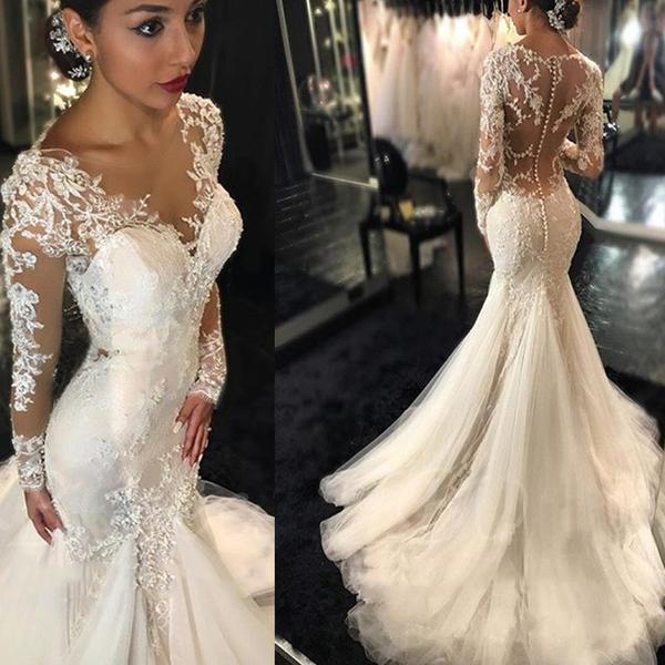 Simple Elegant Open Back Long Sleeve Wedding Dress: Wedding Dresses,bridal Gown,see Through Long Sleeve