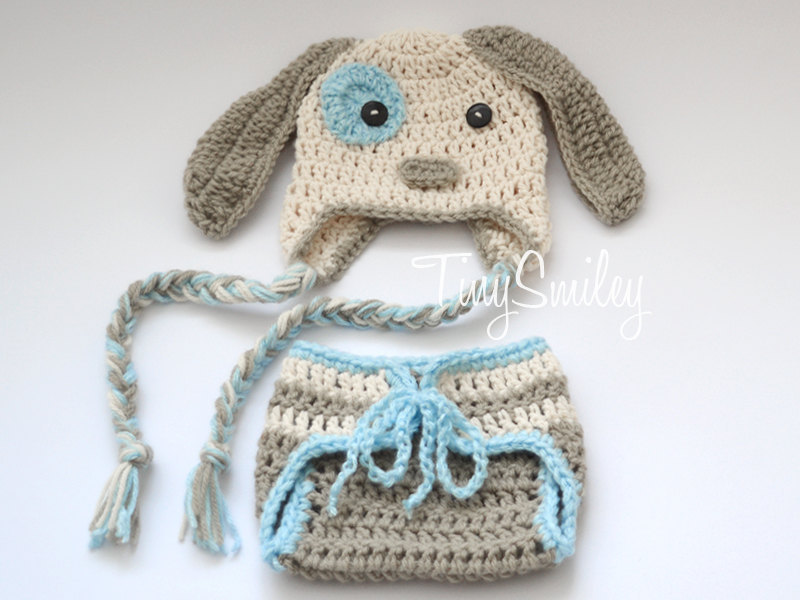 d3c04c43e Cochet Baby Hat and Diaper Cover Set, Puppy Newborn Set, Little Doggy Baby  Puppy Set, Crochet Newborn Doggy Set, Baby Boy Outfit
