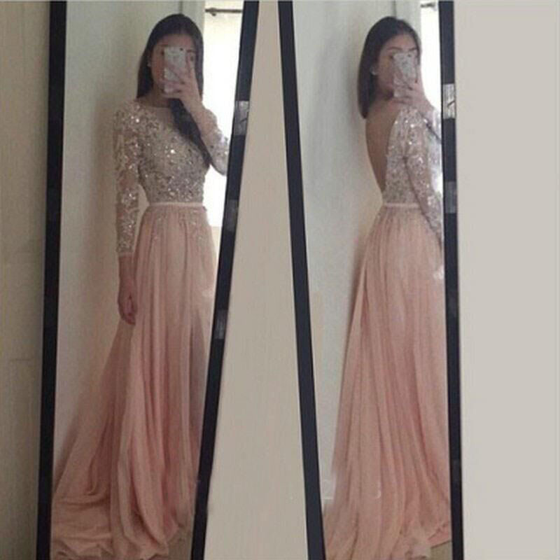 Blush Pink Prom Dresses, Long Sleeves Evening Dresses,Long Party ...