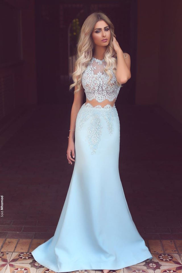 A385 Prom Dresseslong Prom Dressesbaby Blue Two Piece Evening