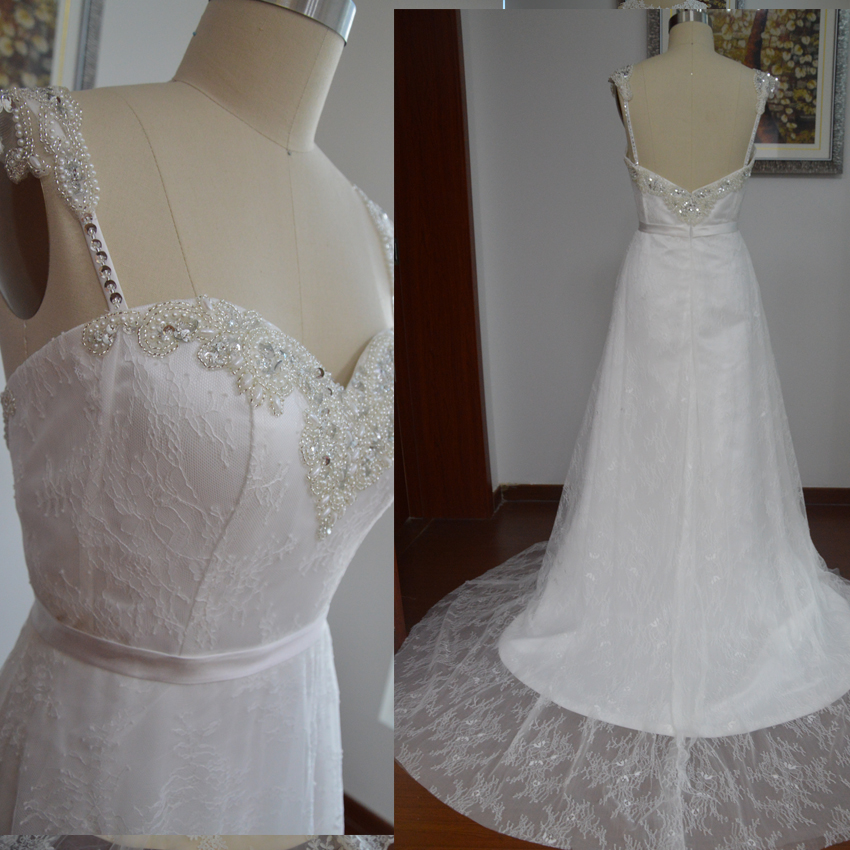 Spaghetti Straps A Line Wedding Gown,New Arrival Lace Wedding Dress ...