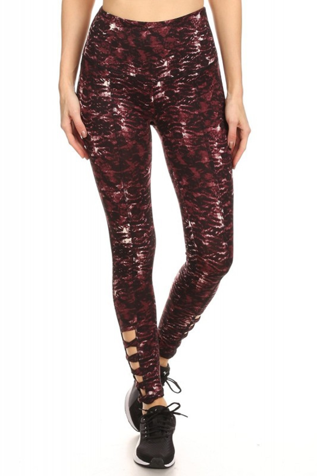 2fb42c0d036095 Burgundy Abstract Highwaisted Athletic Performance Leggings With ...