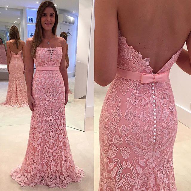 da6c08a4b3d617 Pink Lace Prom Dresses