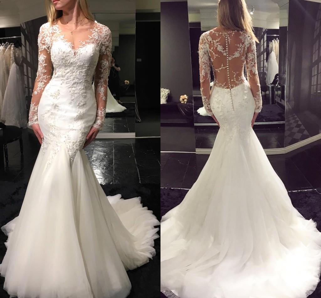 Mermaid Lace Wedding Gown: Elegant Mermaid Wedding Dresses Long Sleeves Lace Beading