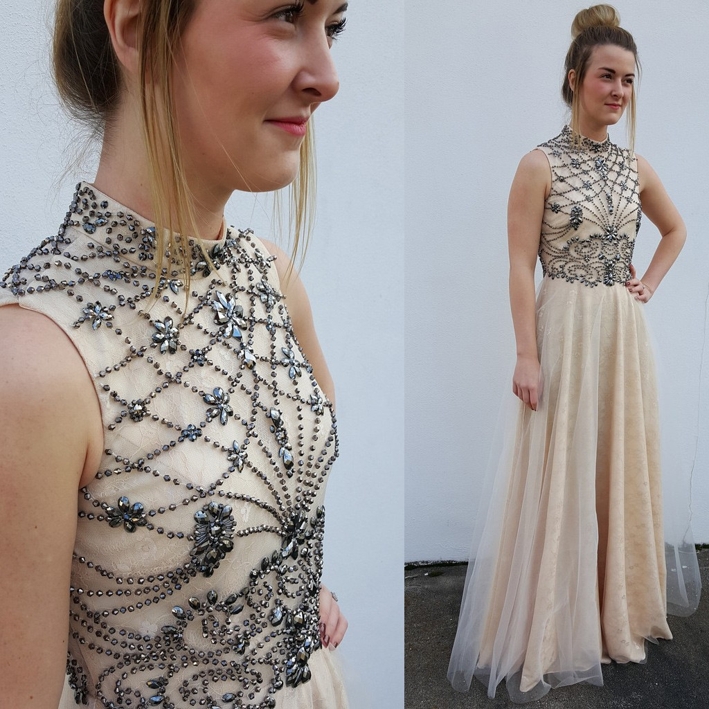 74766d38ce7 High neck light champagne tulle beaded long womens prom dresses original