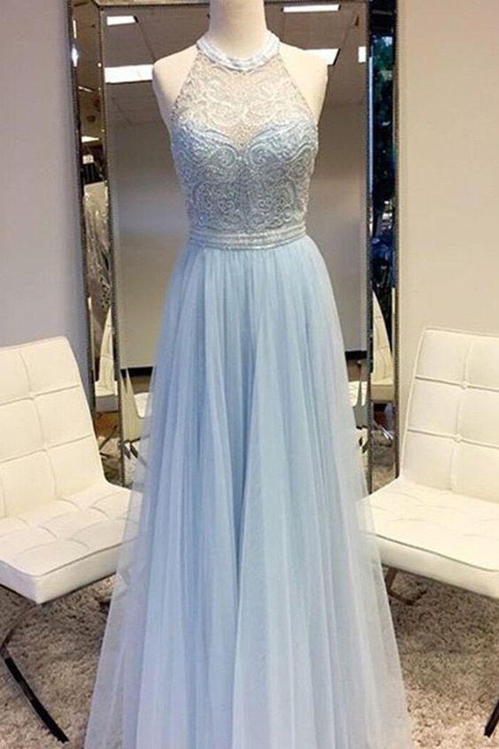 Light Blue Lace Prom Dress,Halter Bodice Prom Dress,Custom ...
