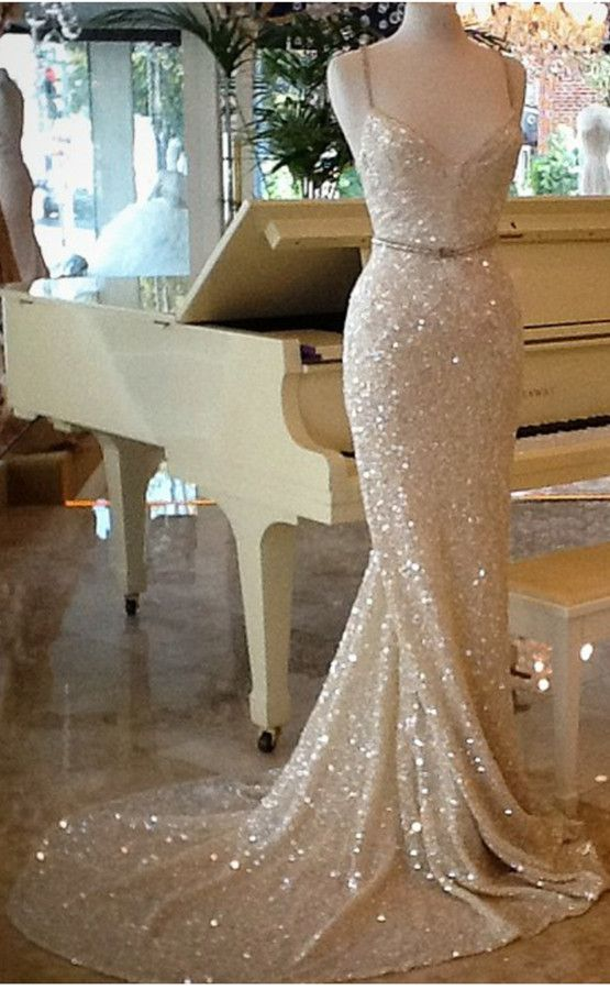 Luxury Bling Sparkle Prom Dress Evening Dress White Mermaid ...