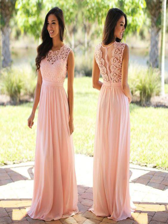 15e32c045a4 Lace Top and Chiffon Skirt Bridesmaid Dresses