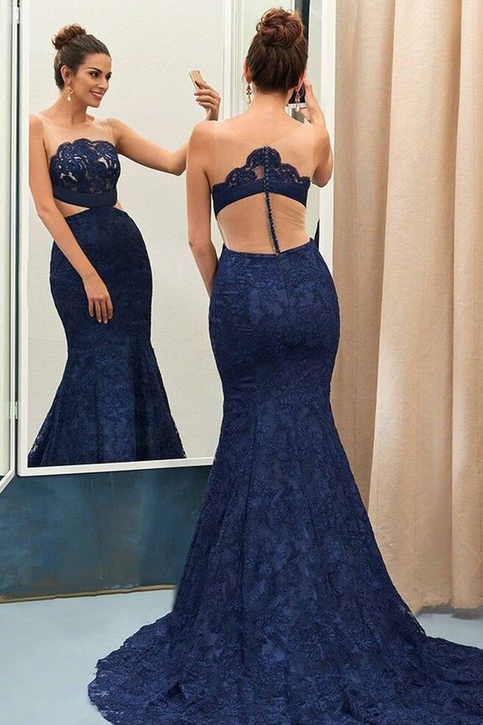 Vintage Lace Prom Dresses Mermaid Prom Dresses Navy Blue