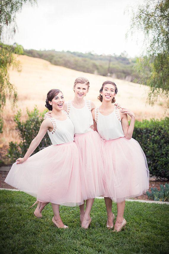 1957b4ee83c4 Classic Tea Length Pink Tutu Skirt Bridesmaid Dress · modseleystore ...
