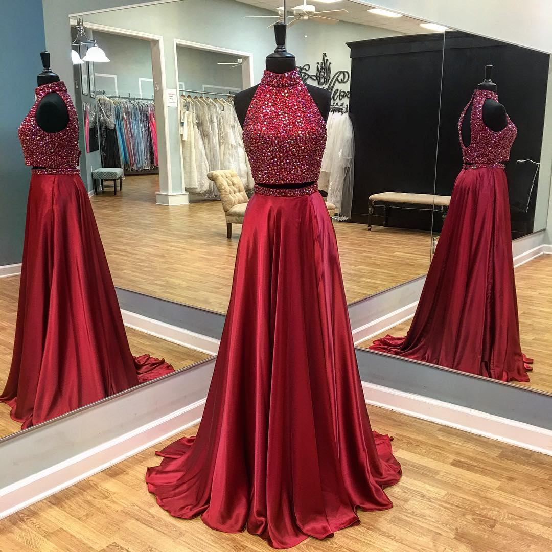 9dce462f2e05 Two Piece Prom Dress,Sexy Beaded Evening Dress,Halter Neckline Deep Red  Prom Gown on Storenvy