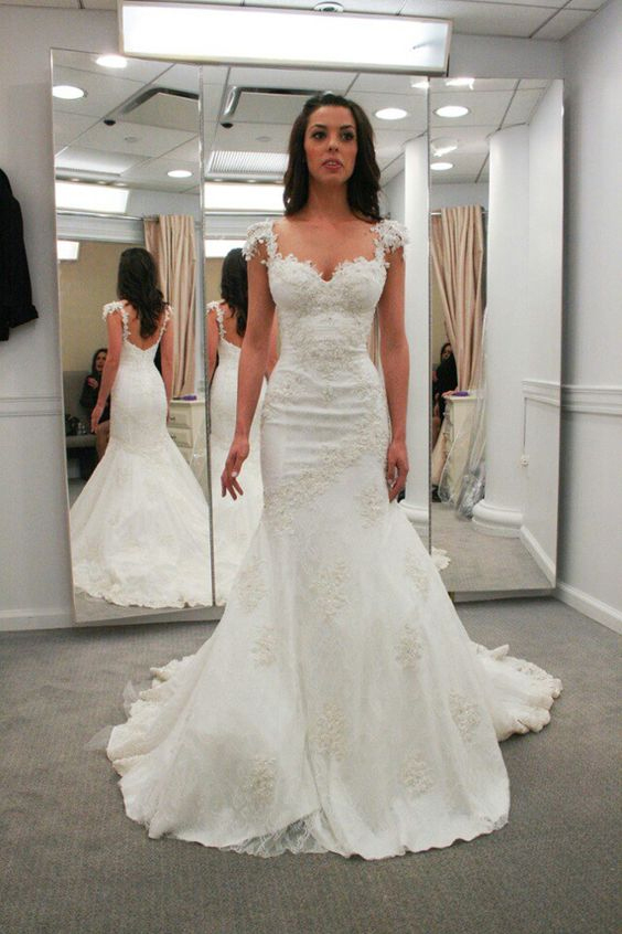 Sweetheart neck Cap Sleeves Wedding Dresses,Mermaid Bridal Gowns ...