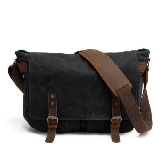 Waxed Canvas Messenger Bag   Leather Messenger Bag   Laptop ... b51f3dc125