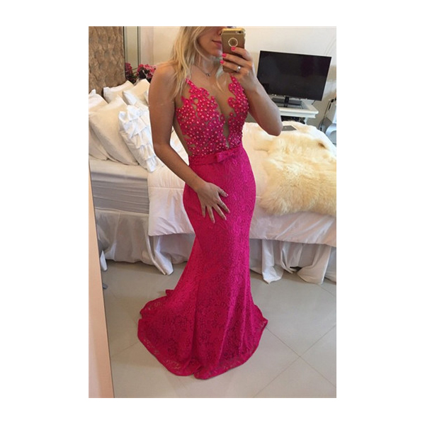 3f89870b12 Illusion Fuchsia Sleeveless Beaded Floral Applique Lace Mermaid Dress