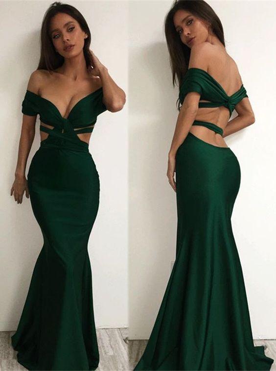 da519583c2f95 Sexy Emerald Green Prom Dress Evening Dress Mermaid Off the Shoulder Open  Back Long Prom Dresses Evening Dresses Party Dress on Storenvy