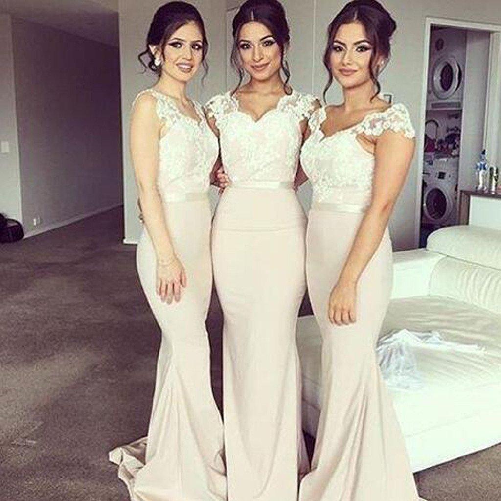 40e2843804 Charming Mermaid Cap Sleeveless Long Bridesmaid Dress with Appliques