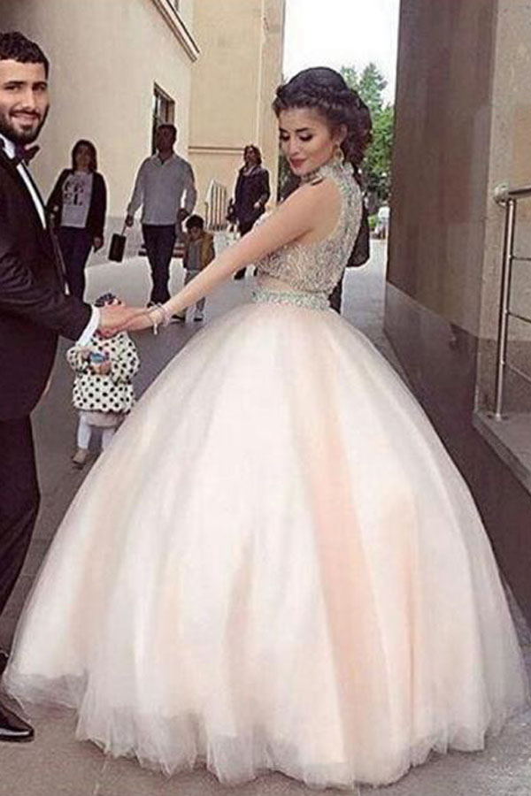 Luxury Bling Sparkle Two Pieces Prom Dress Light Pink Ball Gown ...