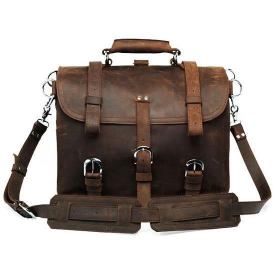b8b6e5e3a1 Solid Heavy Duty   Dark Brown Selvaggio Handmade Leather Briefcase ...