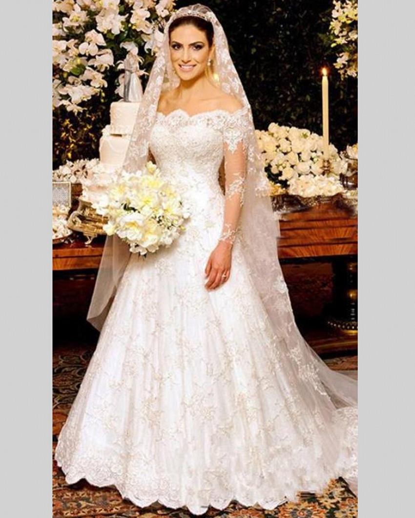 H225 Vintage China Lace High Neck Long Sleeve Lace Muslim Wedding ...