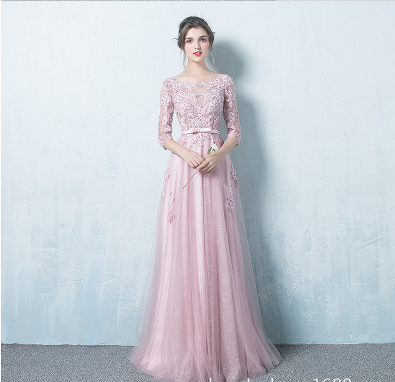 Pink Lace Long Sleeve Long Prom Dresspink Evening Dresses
